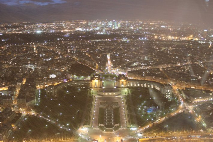 View from the top of the Eiffel Tower in the snow