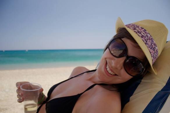 Relaxing on Kiotari beach, Rhodes, Greece.