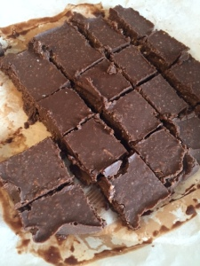 A photo of a batch of cashew butter chocolate fudge